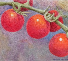 Three for Lunch Triptych, Cheery Cherry Tomatoes by Karen L. Smith