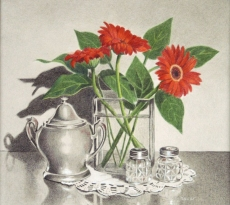 Red Daisies with Silver Pot by Kay Dewar