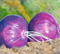 Three for Lunch Triptych,, Purple Onions by Karen L. Smith