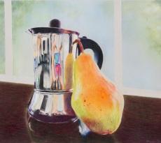 Coffee Pot and Pear by Rhonda Gardner